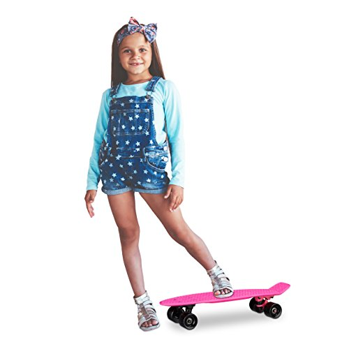 Relaxdays Skateboard Kinder 22 Zoll, Komplettboard ABEC 7, Mini Cruiser mit Aluminium Achsen u. Kunststoff Deck, pink