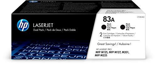 HP 83A CF283AD Packung mit 2 Original-Tonerpatronen für Drucker, kompatibel mit LaserJet Pro Series MFP 100, 200 und 220, Schwarz