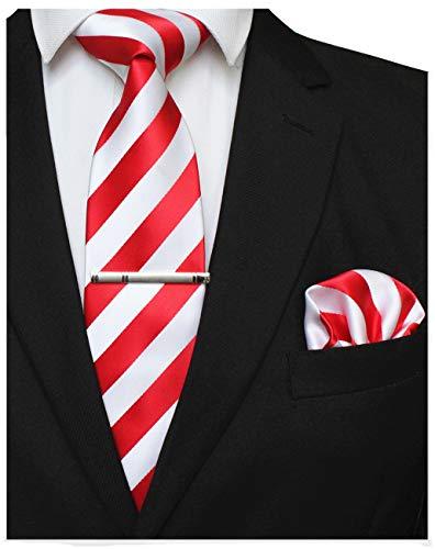 JEMYGINS Rot Krawatten und Einstecktuch Set für Herren seide Krawatte Diagonale Streifen Krawatte krawattenklammer Seidenkrawatten Hochzeit Schlips (2) -