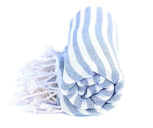 Ma Pêche Hamamtuch aus reiner Baumwolle - Ultraleicht und Schnelltrocknend - Ideal als Strandtuch, Reisetuch, Saunatuch, Badetuch - 90x190cm groß (Grau)