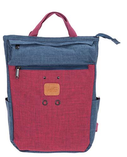 New Rebels Rucksack Damen Vintage Shop 51.1151 Büro Handtasche Backpack + Etui (Blau ROT 02)