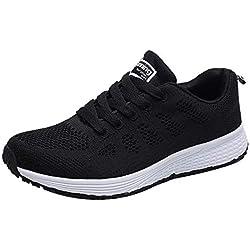 Decai Femmes Baskets Running Fitness Course Basses Athlétique Marche Gym Filets Chaussures Respirant Maille À Lacets Leger Sport Run Baskets Noir 38 EU