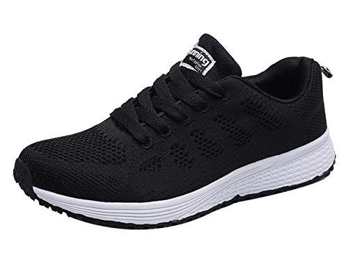 Decai Mujeres Zapatillas de Deportivos de Running para Mujer Gimnasia Ligero Sneakers Malla Transpirable con Cordones Zapatillas Deportivas para Correr Fitness Atlético Caminar Zapatos Negro 38 EU