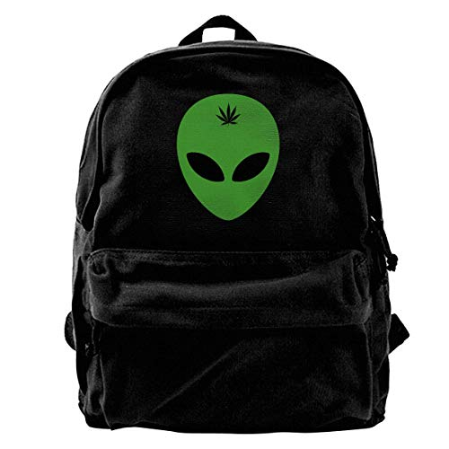 Unisex Alien Head Leaf Weed Casual Style Lightweight Canvas Backpack School Bag Travel Daypack...