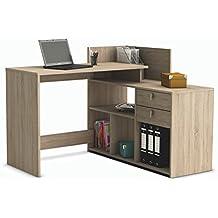 Escritorio mesa de estudio ordenador 121cm. Roble. Para despacho, ordenador, dormitorio juvenil