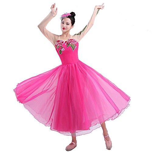 Wgwioo modern dance flamenco kleider erwachsene frauen eröffnungszeremonie klassische kostüme stickerei chor bühne national performance kostüm big swing rock , rose red 1 , (Kostüm Irish Dance Stickerei)