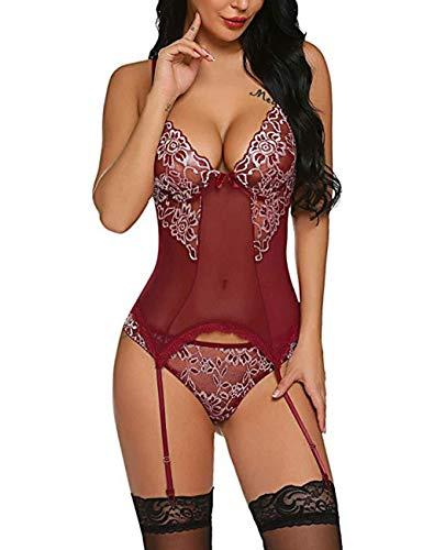 Freesiom Lingerie Femme Hyper Sexy Erotique Lace Coquine Porte Jarretelles Combinaison Minceur Bustier Corset Transparente Grande Taille Pas Cher (Win Rouge, S)