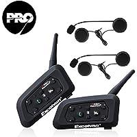 Excelvan V6 Pro - 2×Auriculares Intercomunicador Bluetooth para Casco de Motocicleta Moto Intercom Headset 1200M, (Intercomunicacion Entre 6 Motociclistas, Enchufe de EU BT)