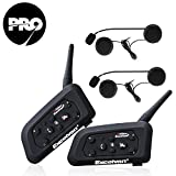 Excelvan V6 Pro - 2×Auriculares Intercomunicador Bluetooth para Casco de Motocicleta Moto Intercom Headset 1200M, (Intercomunicacion Entre 6 Motociclistas, Enchufe de EU BT)