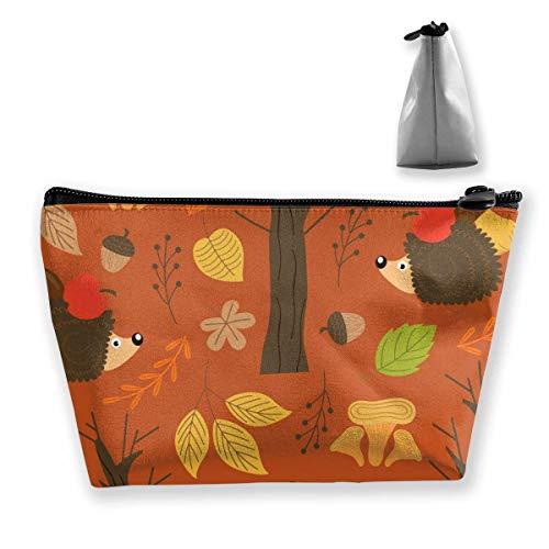 Herbstmuster mit tragbarer Kulturbürstenaufbewahrung für die Reisekosmetiktasche von Hedgehog Womens Womens Hedgehog
