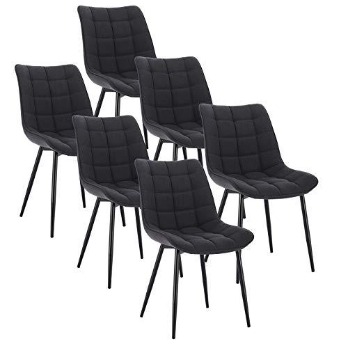 WOLTU 6 x Esszimmerstühle 6er Set Esszimmerstuhl Küchenstuhl Polsterstuhl Design Stuhl mit Rückenlehne, mit Sitzfläche aus Leinen, Gestell aus Metall, Dunkelgrau, BH206dgr-6