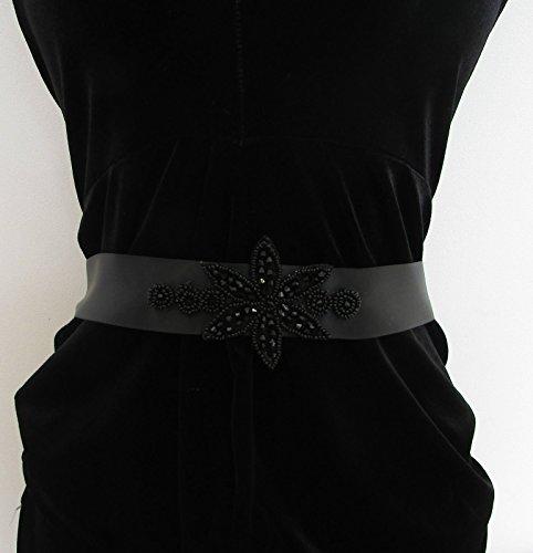 Ceinture en perles Noir Années 1920 Flapper Ruban en satin Prom Great Gatsby Vintage Années 1930 5 AP * * * * * * * * exclusivement vendu par – Beauté * * * * * * * *