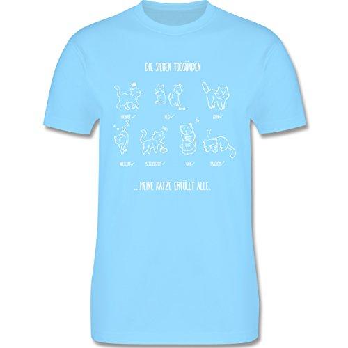 Katzen - witziges Katzenmotiv - Todsünden - Herren Premium T-Shirt Hellblau