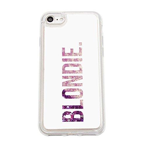 finoo | Iphone 7 Flüssige Liquid Lila Glitzer Bling Bling Handy-Hülle | Rundum Silikon Schutz-hülle + Muster | Weicher TPU Bumper Case Cover | Tweety Happy Blondie White