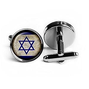 Israel Israeli Flagge Rhodium Silber Manschettenknöpfe