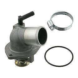 febi bilstein 27869 Thermostat mit Schelle und O-Ring, Schalttemperatur 92° C, 1 Stück