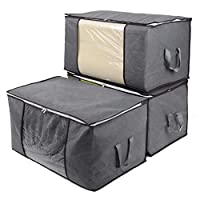 IEOKE Foldable Clothes Storage Bags with zippers,Large Clear Window & Carry Handles, Designed for Clothes,Comforter, Blankets, Bedding Sets,Pillows, Closets and Dormitory(Grey, 3 Packs)
