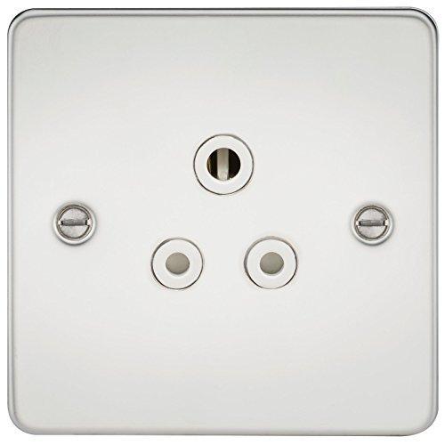 Knightsbridge fpav5apcw 5A, Teller flach, ungeschaltet Sockel mit Weiß einfügen-Chrom poliert White Wall Plate Insert