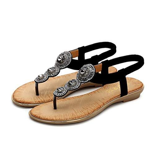 92528bca915d96 Beaulies Women Rhinestones Flat Sandals Summr Wide Fit Sandals for Lady  Fashion Sweet Sandal Apartment Bohemian
