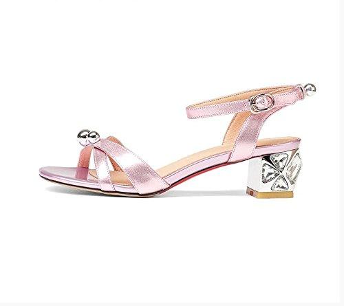 Estate moda donna sandali comodi tacchi alti,35 blu Pink