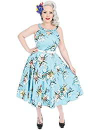 b4e53006d2bb Hearts & Roses London Blue Bouquet Floral Vintage Retro 1950s Flared Sun  Dress