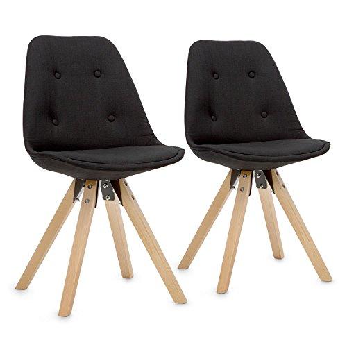 OneConcept Iseo • Schalenstuhl • Retrostuhl • Esszimmerstuhl • 70er-Jahre-Look • Retro • 2-er Stuhl-Set • breite, leicht Gebogene Sitzfläche • gepolsterte PP-Schale • Sitzhöhe von 47 cm • schwarz Schwarz Schale