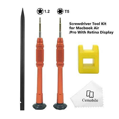 Cemobile Destornillador Macbook Torx T5 5 puntos estrella 1,2mm Pentalobe destornillador Kit de herramientas de reparación para Macbook Air/Pro con Retina
