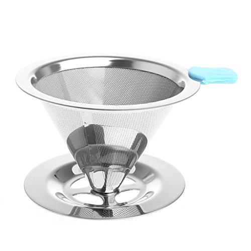 Hergon Spülbecken Filter,Portable Metall Edelstahl Kaffee Filter Trichter/V-Typ Tasse Filter Tee...