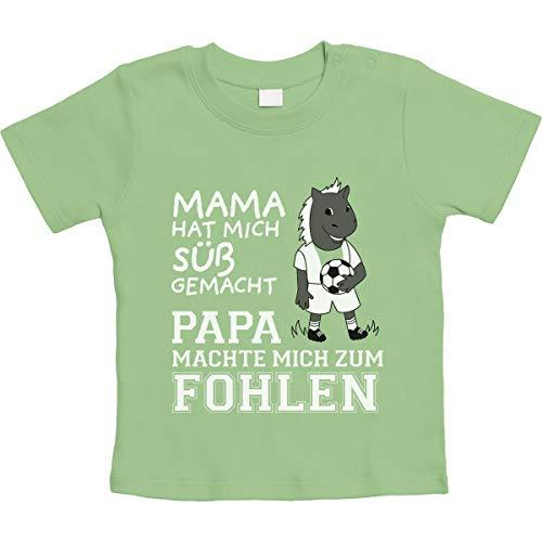 Mama machte Mich süß Papa machte Mich zum Fohlen Unisex Baby T-Shirt Gr. 66-93 18-24 Monate / 93 Limettengrün -