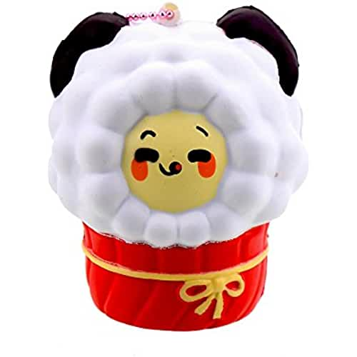 juguetes kawaii VLAMPO Squishy Stress Toys Squishies Soft Slow Rising Scented Lamb Cup Oveja 3.14 (blanco)