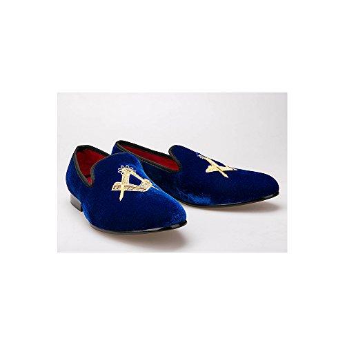 Homme Mocassins Mode Velours à Enfiler Elégant Chaussures Soirée Mariage Sapphire Bleu