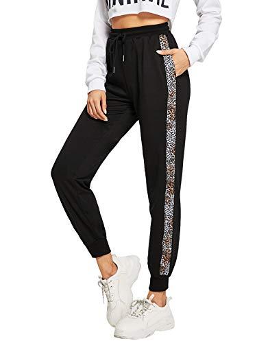 DIDK Damen Hosen Sporthose Casual Streifen Sweathose Elastischer Bund Jogginghose mit Taschen Schwarz-Leopard XS