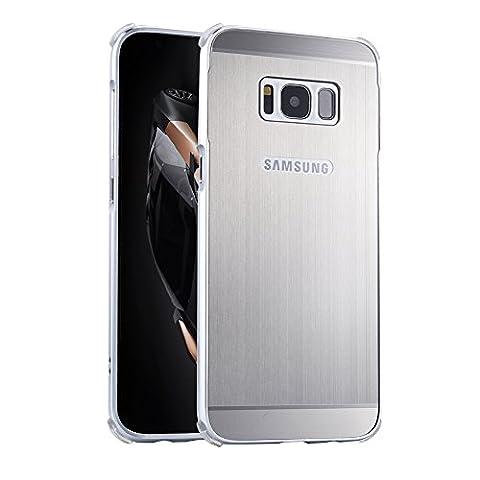 """Coque Galaxy S8 plus, Etui en premium Aluminium métal miroir, Btduck Luxe Housse 2 en 1(Luxe Stucture en métal Bumper + PC Plastique Arrière Etui)[Étui en Métal Miroir] Anti Choc de Protection Semi-Transparente Coque 2 in 1 Electro Placage Texture Hard Coque Pour Samsung Galaxy S8 plus (6.2"""") + 1X Noir Stylet Touchscreen Pen - Gris Argent"""