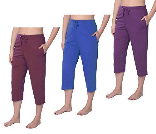 Beverly Rock Damen Capri Jersey Strick Pyjama Lounge Pant in Übergröße - - 3X -