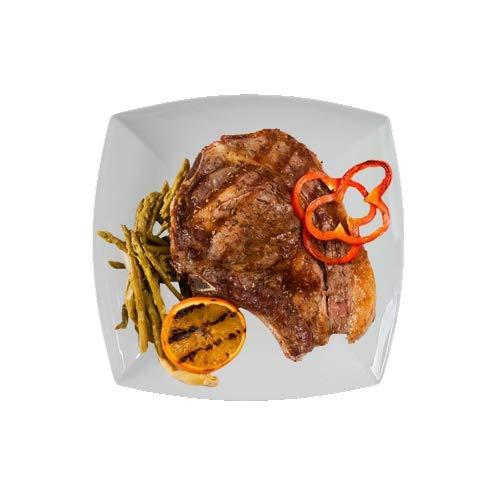 ELIH 350.965-2er Set Gourmet Steakteller Pastateller XXL, 29 x 29 cm, echtes Hartporzellan, weiß, EAK2029