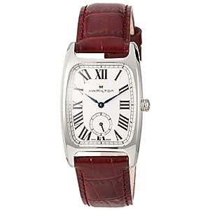 Hamilton Boulton H13421811 – Reloj de Pulsera para Mujer, Esfera Plateada y Blanca, Piel roja