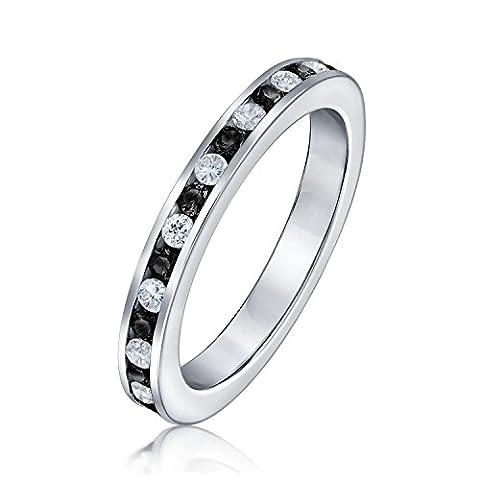 Bling Jewelry Sterling Silber stapelbare Eternity Band Ring Schwarz CZ (Stapelbare Zirkonia Band)