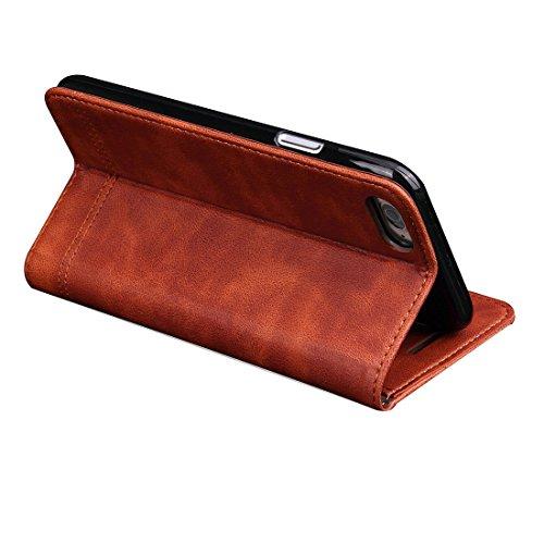 Phone case & Hülle Für iPhone 6 / 6s, Retro Verrückte Pferd Textur Magnetische Adsorption Horizontale Flip Leder Tasche mit Card Slot & Holder & Wallet ( Color : Black ) Brown
