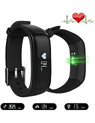 Jcotton Bluetooth Smart Watch IP67 étanche Smart Band avec pression artérielle moniteur de fréquence cardiaque Sport Bracelet Santé Fitness Tracker Podomètre appel Message Rappel pour iOS Android Phone, noir