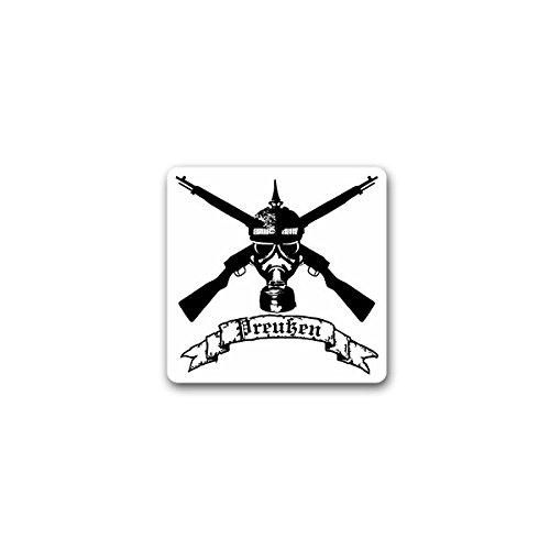 Aufkleber / Sticker -Preußischer Soldat Gasmaske Gewehr Preußen Waffen Militär Wk Armee 7x7 cm #A2347 (Waffe-aufkleber)