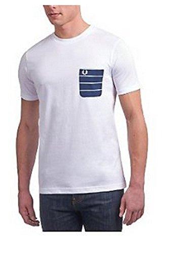Fred Perry weiß Pocket gestreift Kurze Ärmel T Shirt Weiß