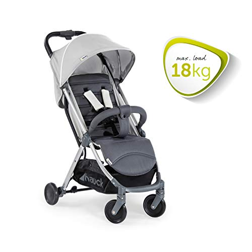 Hauck Swift Plus Lightweight Pushchair up to 18 kg with Lying Position from Birth, Extra Small Folding, Carrying Strap, Large Basket - Silver Grey