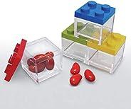Omada Design set 48pz scatoline mattoncino in plastica trasparente con tappo colorato, 5x5x5 cm, 100% made in