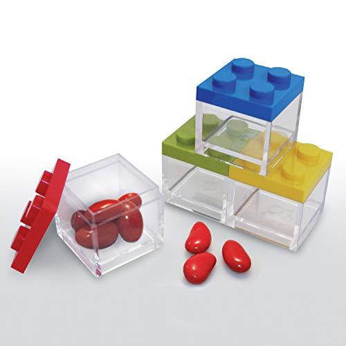 Omada design scatolina tipo mattoncino in plexiglas (48 pezzi) trasparente formato 5 x 5 x 5 cm, per bomboniere,made in italy by adamo,colori verde,blu,giallo e rosso.