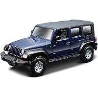 2007 Jeep Wrangler Unlimited Rubicon [Bburago 43012], Blue, 1:32 Die Cast - Wrangler Unlimited Rubicon