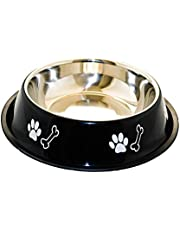 Sage Square Heavy Quality, Round Shape, Anti Skid, Stainless Steel Food/Drink Bowl for Dog/Cat/Other Pets (Extra Large, Black)