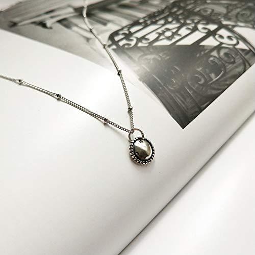 Silber-Halskette, ovale helle Halskette, Silber-Nebelgesicht, modische Halskette,