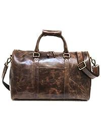 374f389b1d2a Zakara 18 Inch Unisex Buffalo Hunter Leather Weekender Bag (Dark Brown)