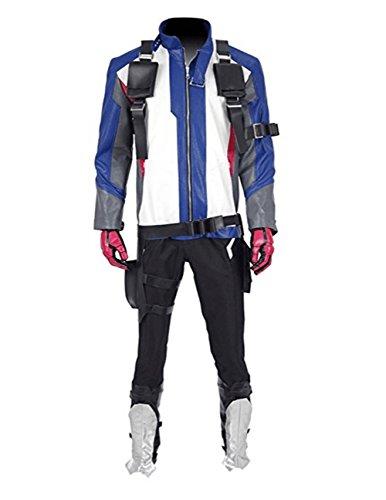 Soldat Cosplay Winter Kostüm - Herren Leder Jacke Soldat Cosplay Kostüm (S, Mehrfarbig Set)