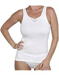 98672bb6775b49 Ott-tricot Damen Unterhemd 2-er Pack 100% Baumwolle mit Spitzeneinsatz  Unterwäsche